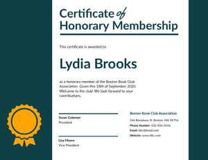 Dark Blue Book Club Honorary Membership Certificate with Medal Diploma Certificate