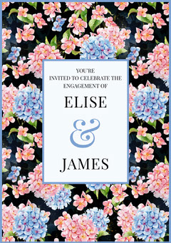 Pink and Blue Floral Engagement Party Invitation Card Couple