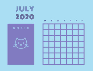 Violet and Blue Empty Calendar Card Kuukausikalenteri