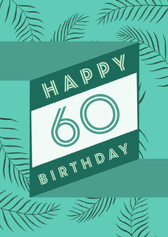 White and Green Happy Birthday 60 Card Birthday