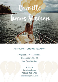 Sweet Sixteen Birthday Invitation Card with Girl Holding Balloons on Boat Balloon
