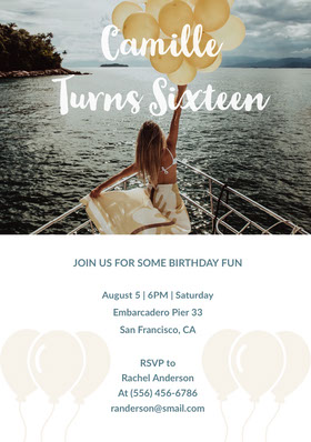 Camille <BR>Turns Sixteen  Invitation d'anniversaire