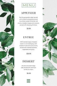 White and Green Restaurant Menu Dinner Menu