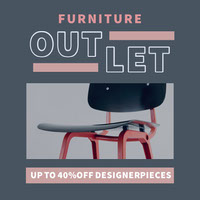 Grey and Pink Furniture Outlet Instagram Post petite entreprise