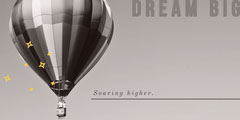 Black and White Motivational LinkedIn Banner with Hot Air Balloon Balloon
