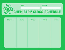 Green Weekly School Chemistry Class Schedule 일정