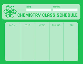Green Weekly School Chemistry Class Schedule Study Helpers