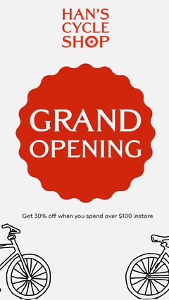 Red & White Han's Cycle Shop Instagram Story Grand Opening Flyer