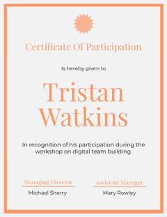 Orange Business Workshop Certificate of Participation Workshop