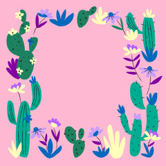 Pink and Green Flower and Cactus Frame Instagram Square Graphic Cactus