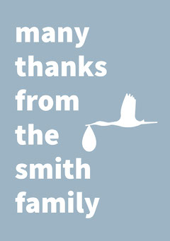 Blue Thank You Baby Shower Card with Stork Baby's First Year