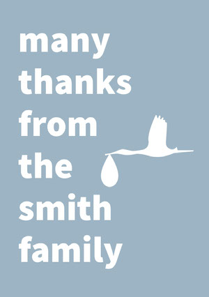 Blue Thank You Baby Shower Card with Stork Baby Shower Thank You Card