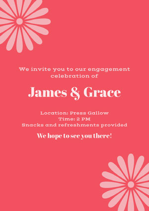 Pink and Red Engagement Invitation Kihlausilmoitus
