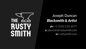 Black and White Blacksmith Business Card Tarjeta de visita
