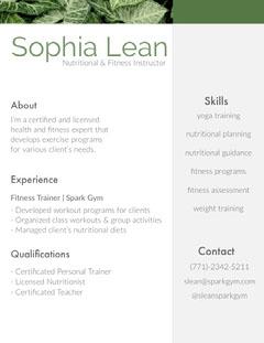 White and Grey Sophia Lean Resume Fitness