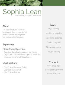 Sophia Lean Currículo