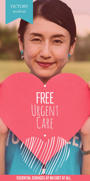 Healthcare Service Ad Vertical Banner with Woman holding Heart Banner