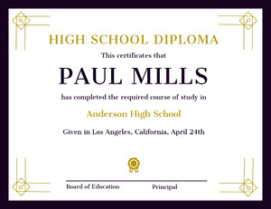 Gold and Black Decorative High School Graduation Certificate Certificat