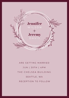 Pink Foliage Wedding Invite  Rustic Wedding Invitation