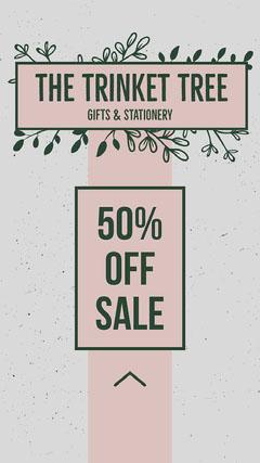 Pink & Grey Leaf Motif Instagram Story Shopping