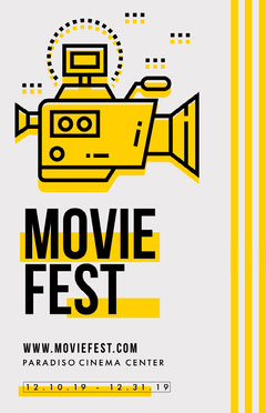 Yellow, Grey and Black, Light Toned Movie Festival Event Ad, Poster Film Festival Poster