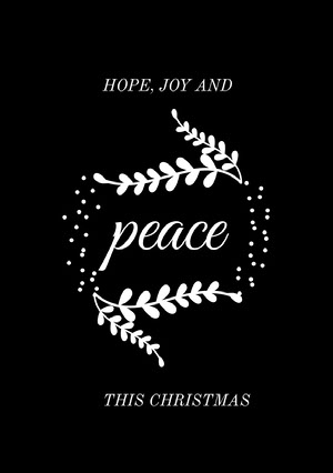 Black and White, Minimalstic, Merry Christmas Card Christmas Card