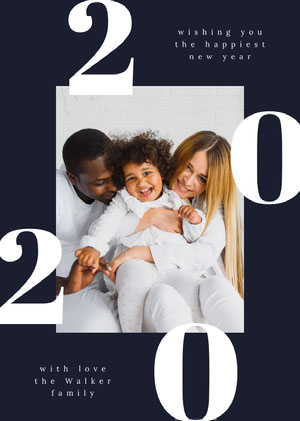 Blue and White, Family New Year Wishes Card Happy New Year