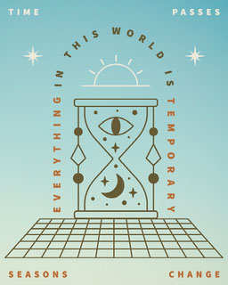 Blue and Green Psychedelic Hourglass Illustrated Quote