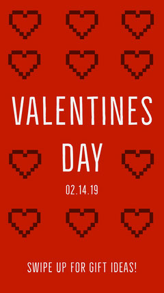 Red Pixel Heart Valentine's Day Instagram Story Instagram Story