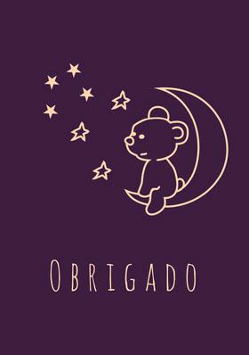 dark purple teddy bear thank you cards  Cartão de agradecimento