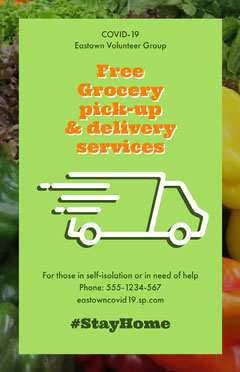 Green Food Delivery Volunteer Group Poster Volunteer