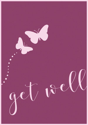 Pink and Purple Get Well Soon Card with Butterflies God bedring-kort