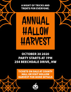 Orange and Black Annual Halloween Harvest Party Poster Holiday Party Flyer