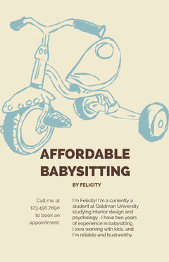 Beige and Blue Affordable Babysitting Flyer Day Care