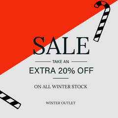 Red, Black and Grey, Winter Sale Ad Instagram Post Winter