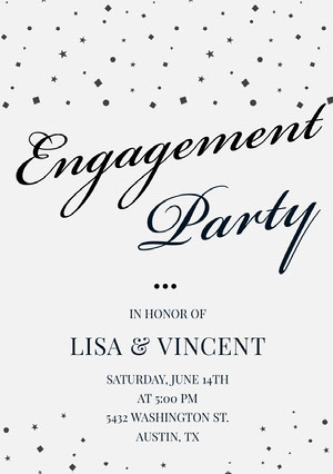Black and White Elegant Calligraphy Engagement Party Invitation Card Einladung zur Verlobung