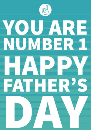 Blue and White Happy Father's Day Card Father's Day Card