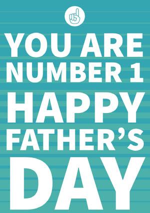 Blue and White Happy Father's Day Card Cartão de Dia dos Pais