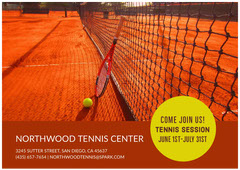 Orange Tennis Club Ad with Court Tennis