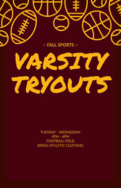 Yellow and Purple Sport Tryouts Ad Poster Fall