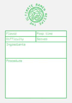 grey white green food ramen recipe card a5 Ramen