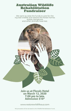 Green with Oval Leaf Frames Australia Wildlife Fund poster Fundraiser