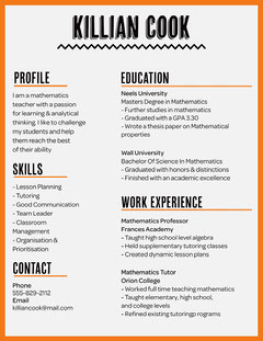 Orange Maths Teacher Resume Teacher
