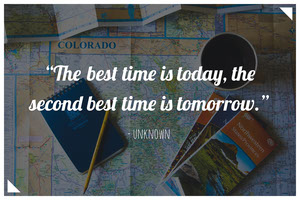 Motivational Quote on Travel Postcard with Map Rejsepostkort