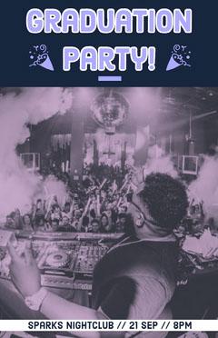 Blue, Monochrome, Graduation Party Event Poster Club Party