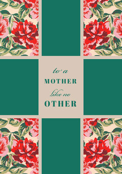 Green Floral Mothers Day Card Flowers