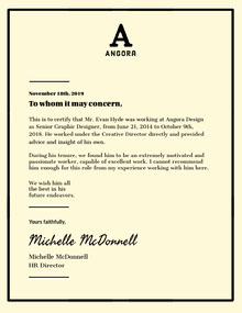 Black and White Framed Graphic Designer Recommendation Letter Lettera