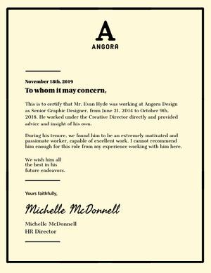 Black and White Framed Graphic Designer Recommendation Letter Declaração de experiência