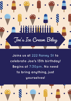 Blue and Beige Illustrated Ice Cream Birthday Party Invitation Card Ice Creams