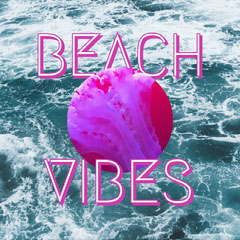 Pink and Blue Summer Square Instagram Graphic with Sea Surfing